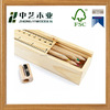 FSC unfinished handmade custom cheap wooden pencil box with ruler lid