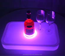 Flash lighting waterproof acrylic large round bottle LED wine serving tray for party