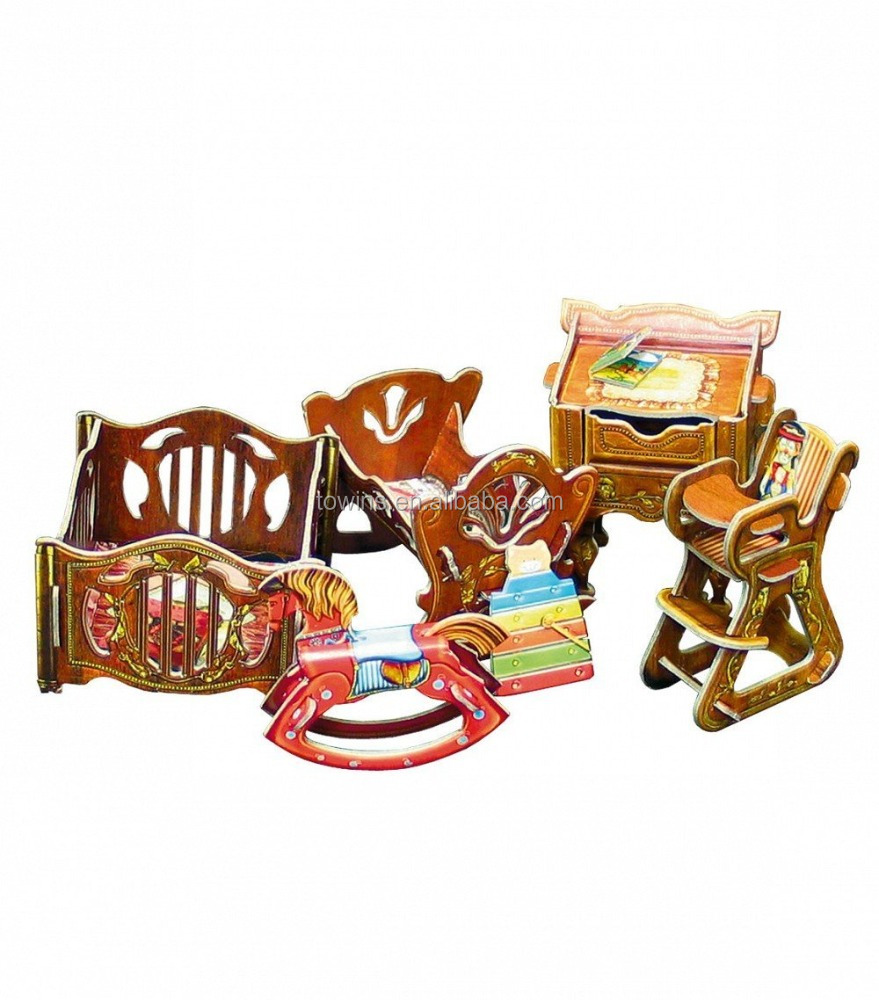 Best selling mini furniture set 3d puzzle paper model kit