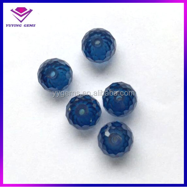 Blue Round Ball shape CZ gemstone 2mm hole beads gemstones