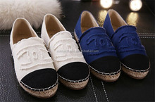 New Style Women's Espadrilles Slip-On Boat Flat Hemp rope Weave Casual Canvas Fisherman Loafers Shoes Blue Beige