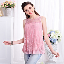 B10698A 2016 new fashion ladies plus size lace blouse tops summer sleeveless lace t shirt