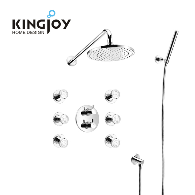 China sanitary ware brass body jets spa wall top rain round massaging shower head thermostatic mixer shower faucet set