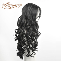 Tangle free body wave black synthetic hair wig