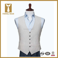 2016 Hot Custome Made V Neck Slim Fit Seersucker Fashion Men Waistcoat