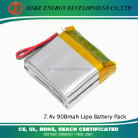 high quality&reasonable price 7.4v li-polymer battery 900mah lipo battery pack for LED light and flashlight