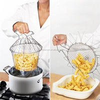 Best-selling 1Pc Foldable Steam Rinse Strain Fry Chef Basket magic basket mesh basket Strainer Net Kitchen Cooking Tool