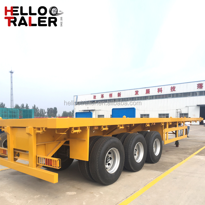 40feet 3 axle flatbed platform container semi trailer