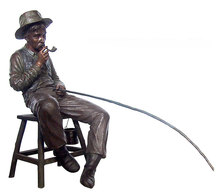 Fisherman Sitting on a Stool Smoking a Pipe Bronze Garden Statue Sculpture BS299A