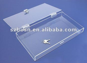 Rectangle Acrylic Box with Hinged Lid and Lock