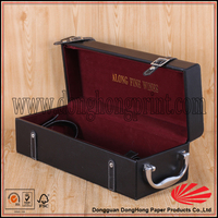 Hot sell leather surface wine box wood with velvet insert
