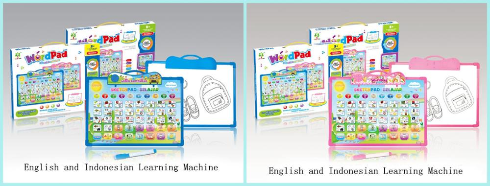 Early Educational Toy Learning 2 Languages Machine And Drawing Board For Preschool Kids