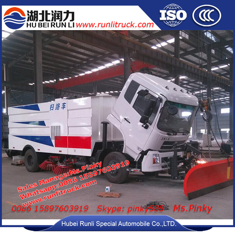New Dustbin Street Sweeper Truck 10000Liters Cleaning Vehicle,Road Sweeper Machine With Snowing Cleaning Equipment