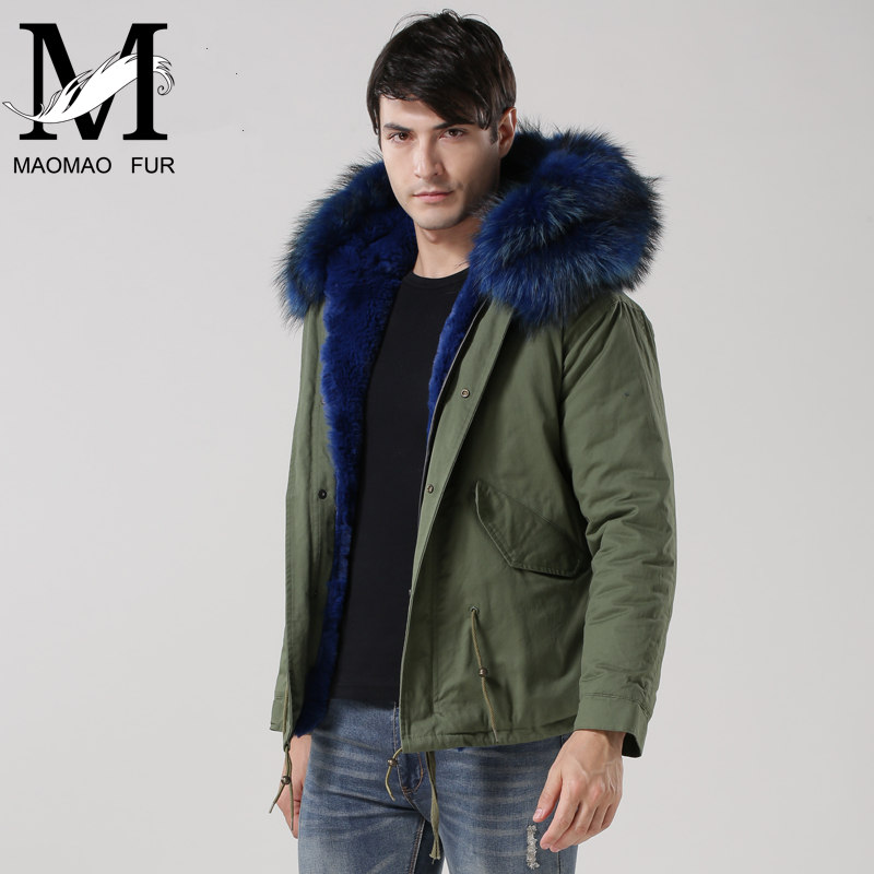High Quality Faux Fur Lined Parka Jacket with Raccoon Fur Collar Warm Winter Parka Jacket Men