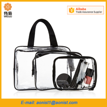 3 set Waterproof Plastic travel transparent clear pvc cosmetic tote makeup bag organizer with zipper