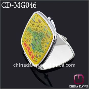 Promotional Square Shaped Cosmetic Hand Mirror CD-MG046