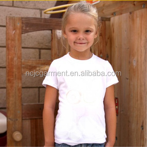 OEM service Kids Blank t shirt round neck plain white 100% cotton girls/boys/children/toddler tshirt drawing tees