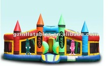 2016 new design inflatable Castle Combo bouncer moonwalks Crayon Toddler Playland