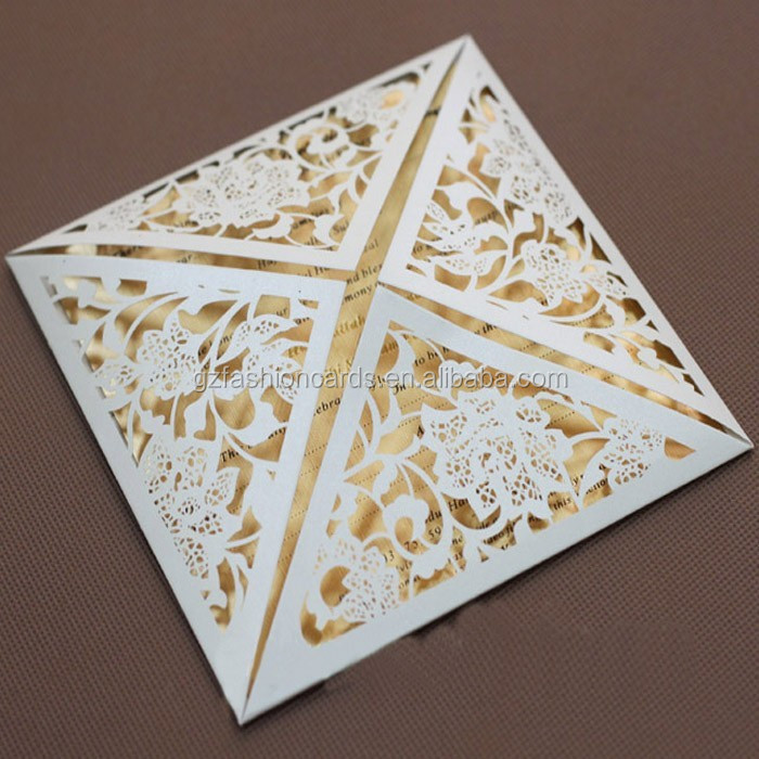 Latest Design Laser Cut 2015 Wedding Invitation Card With Envelope