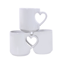 New design custom sublimation mug with heart shape handle