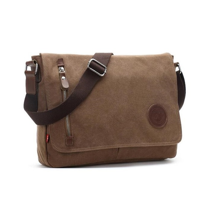 Hot sale fashion augur brand name khaki canvas school bag for man and students