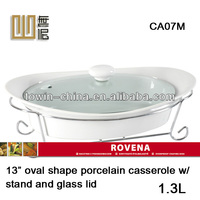 ceramics casserole with stand and glass lid