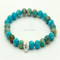 Sea Sediment Stone 8 mm Bead with Real Silver-Plated Skull Men's Bracelet