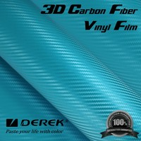 Sky Blue 3D Carbon Fiber Car Wrap Vinyl Film with Air Free Channel
