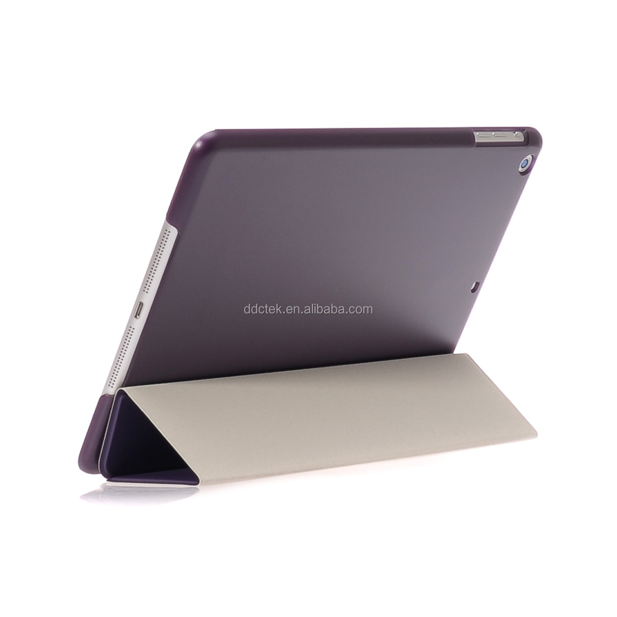 New arrival matte PC base PU leather cover for ipad air 2 case with stand vision Dark purple custom