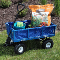 Green Heavy-Duty Steel Log Cart, 34 Inches Long x 18 Inches Wide, 400 Pound Weight Capacity