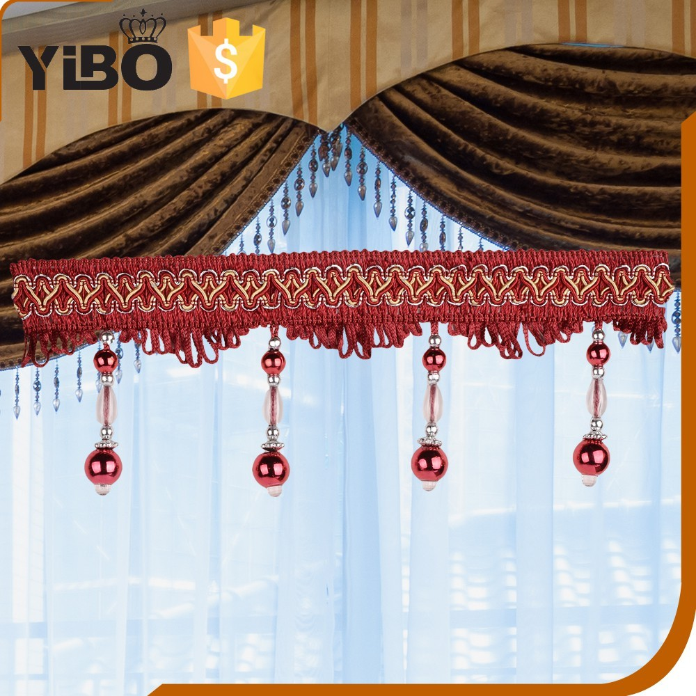 Fancy beaded decorative cord curtain tassels and tiebacks for curtains