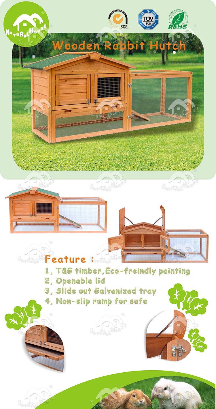 large run 2 storey build with tray wooden outdoor rabbit hutch,wood products