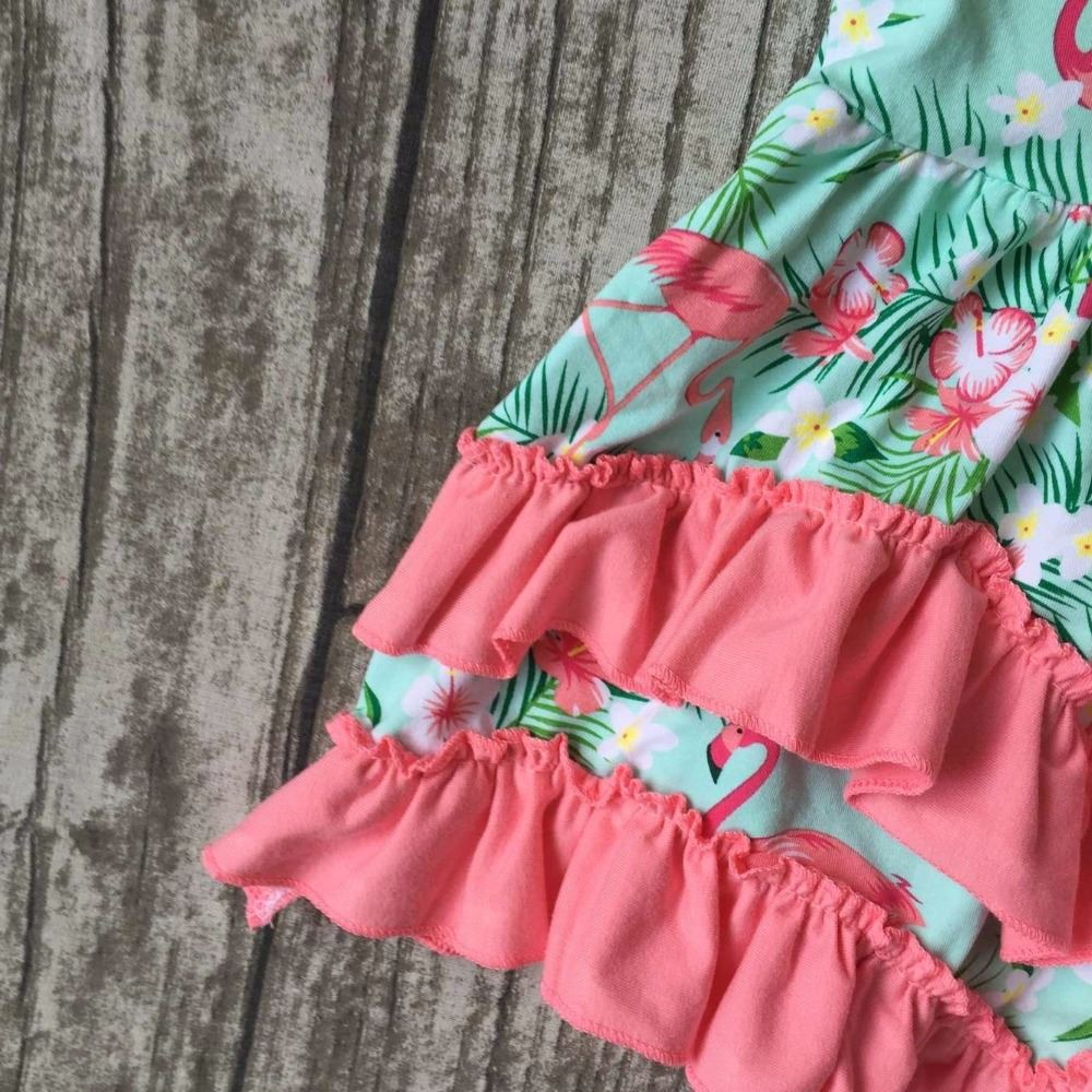 baby girls clothes kids wear summer Flamingo mint coral ruffles print dress cotton mtaching accessories boutique sleeveless
