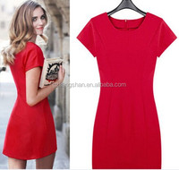 OEM Wholesale New Fashion Women Summer Pencil Dress Sleeveless O-Neck Red ladies Mini A-Line Dress