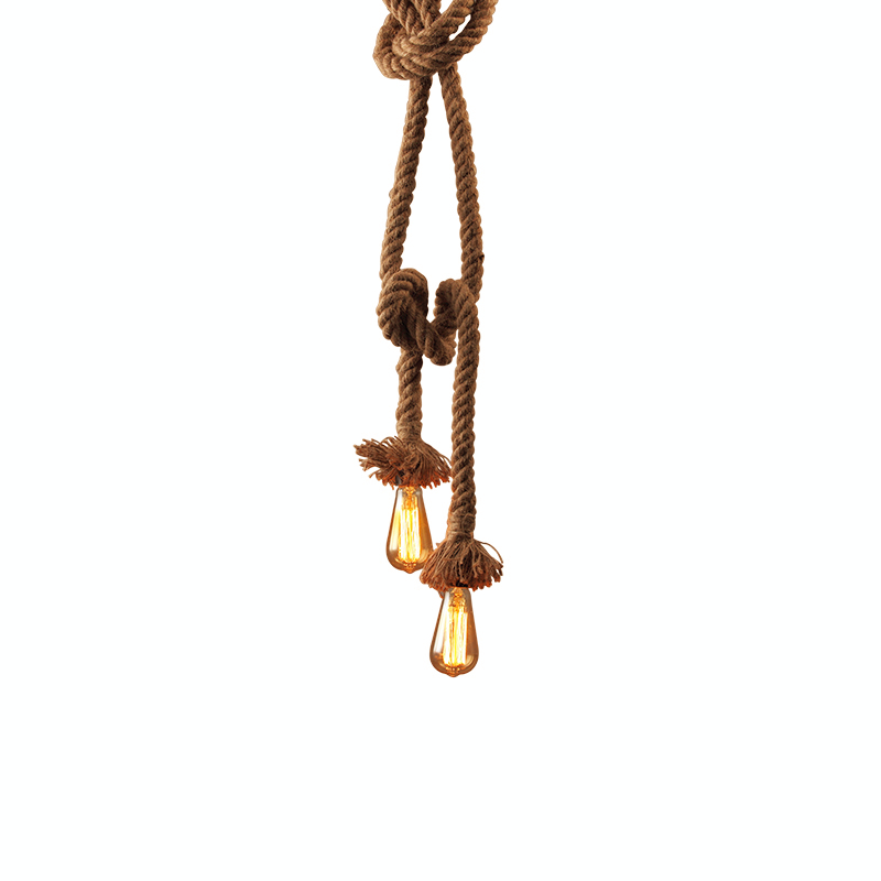 Vintage Retro Hemp Rope Pendant Light E27 Loft Creative Industrial style for Bar Coffee Light Fixture