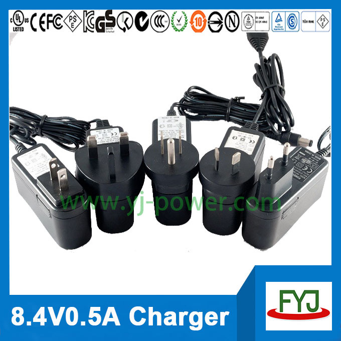8.4v li-ion battery charger 500ma for 7.4v li ion rechargeable battery pack charger with EU US UK AU plug YJP-084050