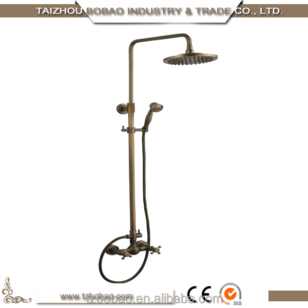Taizhou Low Price 2 Ways Wall Mounted Double Handles 8'' Round Antique Bronze Shower Set Rainfall Ourdoor Shower Faucet