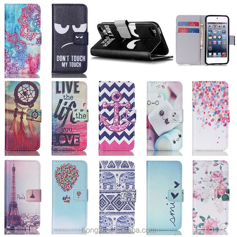 Customized Flip PU Leather+Silicone Cover Magnetic Wallet Case For Apple iPod Touch 5th 5g Gen Phone Cases for Kids w/Card Slots