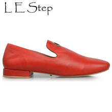 Sexy metal ring decorated leather women's comfortable flats italian design soft comfort shoes for women