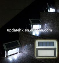 9 hours Working Time Solar Powered Wireless Stainless Steel Staircase Step Light 1.2V/500mAh Battery