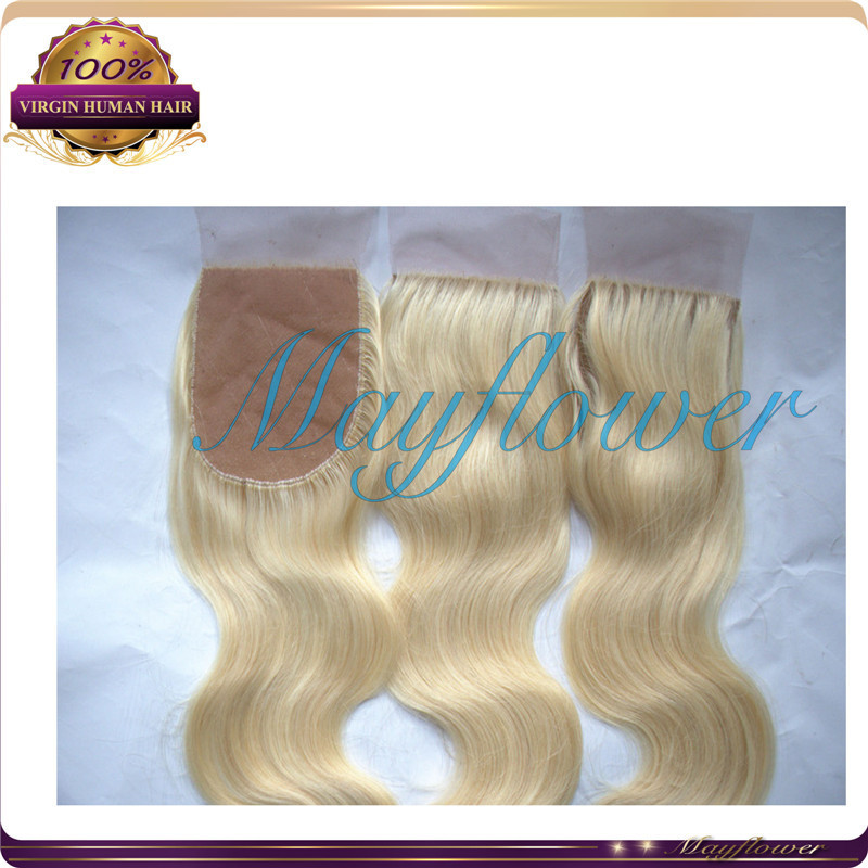 #613 blonde silk base closure Chinese virgin body wave hair silk top closure hidden knots freestyle parting