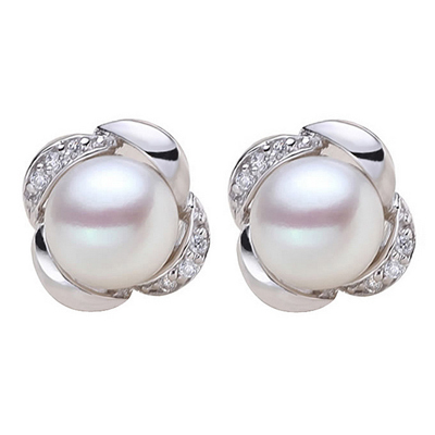 High quality 100% real freshwater pearl earrings for women 925 sterling silver stud earring gift for girlfriend three color E007