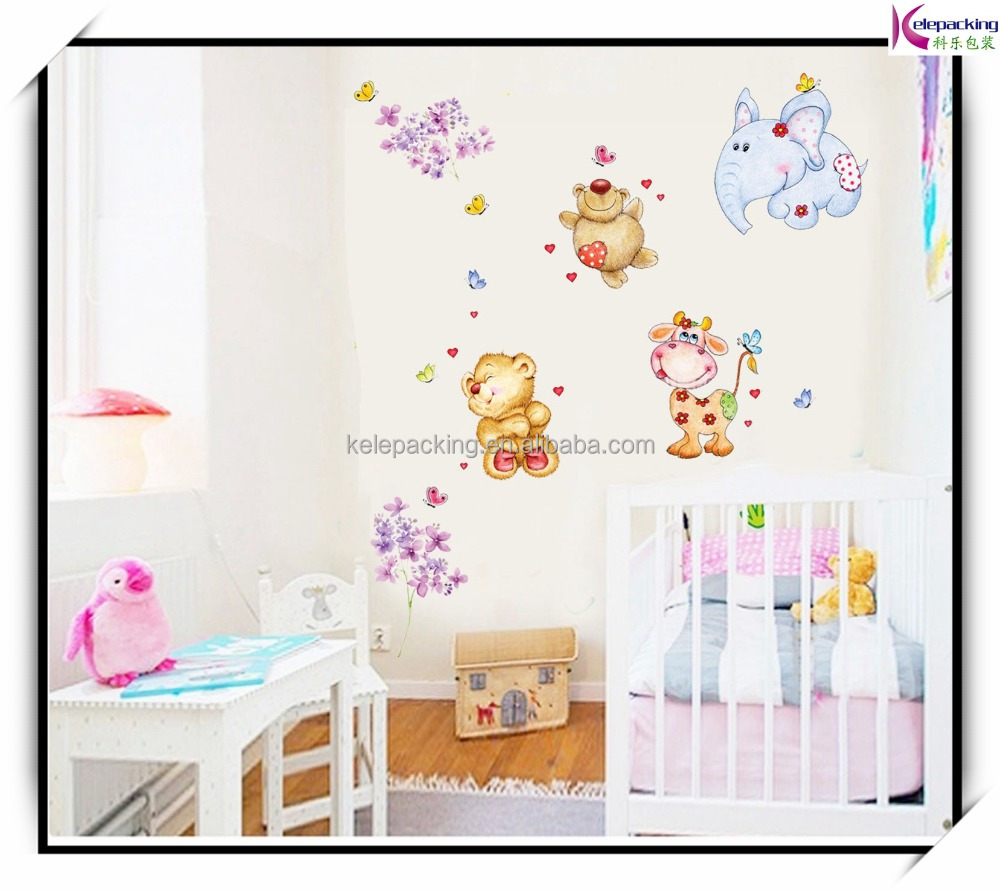 Animal bear cartoon elephant horse vinyl wall stickers for kids rooms home decor nursery wallpaper bedrooms wall art decals