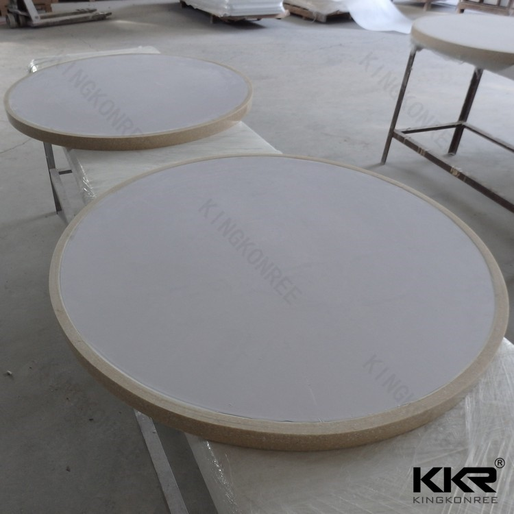 High quality solid surface white acrylic round table top from Shenzhen manufacturer