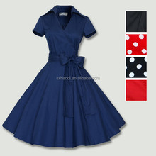 HD-158 Solid color most popular bule vintage 50s womens dress clothes on sale uk