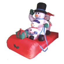 Inflatable skating snowman family for party decoration