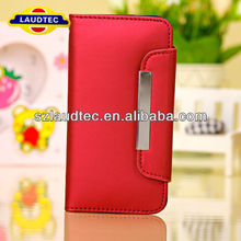 Red Magnetic Leather Credit Card Case Cover for Apple iPhone 5C