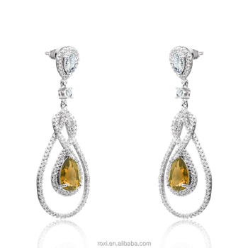 Eneless Love Yellow Crystal Earrings Bulk Sale Amazon Latest Design Red Zircon Carved Round Disc Earrings Pendant Earrings