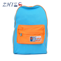 Custom kids blue school backpack canvas book bag with front pocket for teenagers