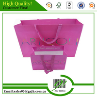 Environmental paper bag with handle pink shopping bag